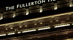 Facade of the Fullerton Hotel, with its colonial architecture in Singapore Stock Footage