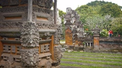 Decorative walls and structural featutres of Taman Ayun, Hindu temple in Bali Stock Footage