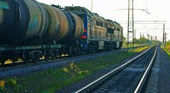 Freight train with tanks - stock photo