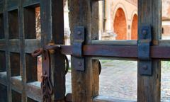 An iron bolt on old gate - stock photo