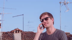 Young Handsome Man Mobile Phone Technology Tourist Travel Communication Summer Stock Footage
