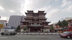 Unique architecture of the Buddha Tooth Relic Temple in urban Singapore Stock Footage