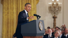Obama Speaking at Science Award Ceremony Waves and Walks Away Slow M - stock footage