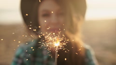 Slow motion clip of happy and excited woman celebrating Stock Footage