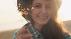 Slow motion clip of happy and excited woman celebrating - stock footage