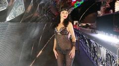 Girl posing in costume burlesque - stock footage