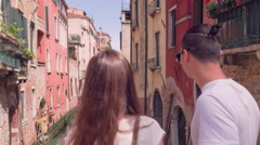 Loving Young Couple Sightseeing Canal Gondola Buildings Summer Honeymoon Stock Footage