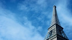 The Eiffel Tower With Clouds Passing Stock Footage