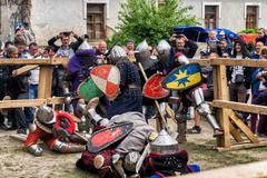 Jousting battles festival of medieval culture Outpost 2016 in Kamenetz-Podolsk Stock Photos
