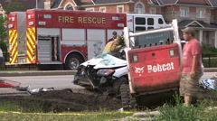 Deadly fatal head on car truck accident in city Stock Footage
