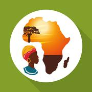 Africa design. map icon. Flat illustration - stock illustration