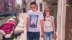 Beautiful Woman Showing Man Walking Love Sightseeing Casual Summer Vacation Stock Footage
