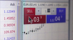 FINTECH - Oblique MCU financial services screen with charts and cursor moving Stock Footage