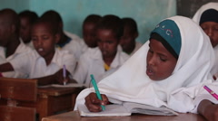 Muslim Girl Goes to School in Somalia Stock Footage