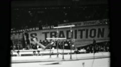 1966: Natalia Kuchinskaya Soviet Union women's uneven bars 16th Artistic - stock footage