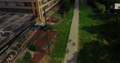 Atlanta Beltline Aerial Bird's Eye Track Backward Pan Left Over People - stock footage