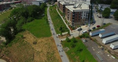 Atlanta Beltline Aerial Track Right Pan Right Over People Stock Footage