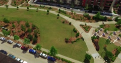 Ponce City Market Atlanta Aerial Pan Around 360 Ponce Park to Building Front Stock Footage