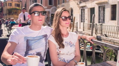 Couple Coffee Summer Vacation Cafe Honeymoon Cappuccino Happy Sunglasses Talking - stock footage