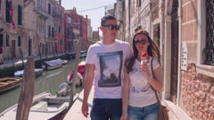 Couple Sightseeing Buildings Ice Cream Summer Canal Vacation Honeymoon Stock Footage