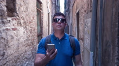Man Smartphone Walking Sunglasses City Travel Technology Handsome Lifestyle Stock Footage