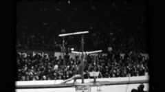 1966: Larisa Latynina Soviet Union women's uneven bars 16th Artistic Gymnastics - stock footage