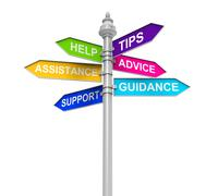 Sign Directions Support Help Tips Advice Guidance Assistance Stock Illustration