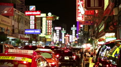 Bangkok Chinatown neon night signs street skyline - stock footage