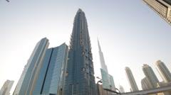 Dubai Skyline POV wide angle shot from a car window - stock footage