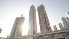 Dubai Skyline POV shot from a moving car - stock footage