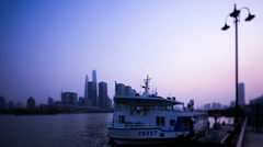 Time lapse of ferry boats passing Pudong, Shanghai, China, on the River Huangpu, Stock Footage