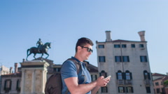 Man Smartphone Texting Handsome City Travel Venice Lifestyle Happy Vacation Stock Footage