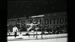 1966: Věra Čáslavská Czechoslovakia women's uneven bars 16th Artistic Gymnastics - stock footage