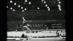 1966: Věra Čáslavská Czechoslovakia women's balance beam 16th Artistic - stock footage
