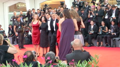 Gravity Bullock Clooney Cuaron Venice red carpet - stock footage
