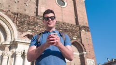 Man Smartphone Texting Happy Church Handsome City Building Travel Lifestyle - stock footage