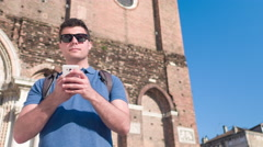 Man Smartphone Texting Happy Handsome City Building Travel Venice Lifestyle Stock Footage