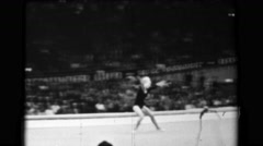 1966: Věra Čáslavská Czechoslovakia women's floor exercise 16th Artistic - stock footage