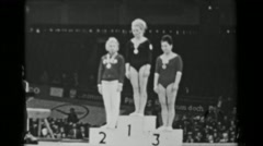 1966: Individual all-around medal podium ceremony women's 16th Artistic Stock Footage