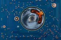 Geometry electronics, closeup of the blue circuit board Stock Photos