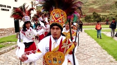 People at procession in Peru in Andes (South America) - stock footage