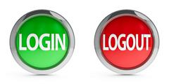 Icons login & logout with highlight - stock illustration