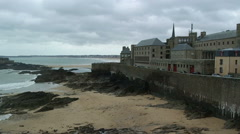 View of beach of Saint-Malo Stock Footage
