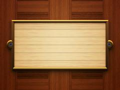 Wooden rectangle doorplate - stock illustration