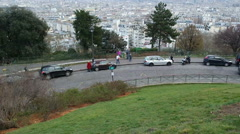 View of city from Sacre Coeur Basilica in spring day Paris, France Stock Footage