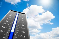 Thermometer frost close-up on sky Stock Illustration