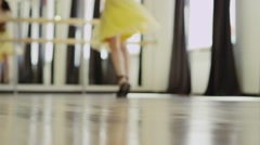 girl wearing costume with corset is dancing - stock footage