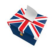 Ballot Box with United Kingdom Flag - stock illustration