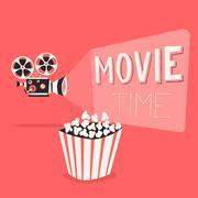 Movie time poster. Cartoon vector illustration. Film projector and popcorn - stock illustration