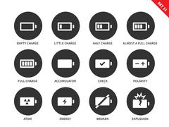 Battery charge levels icons on white background - stock illustration